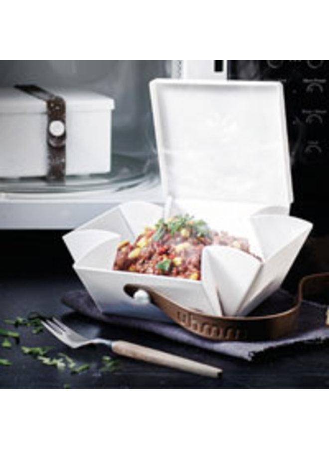 weiße faltbare Brotdose, die Sie auch als Teller verwenden können. Mit schwarzem Gurt.