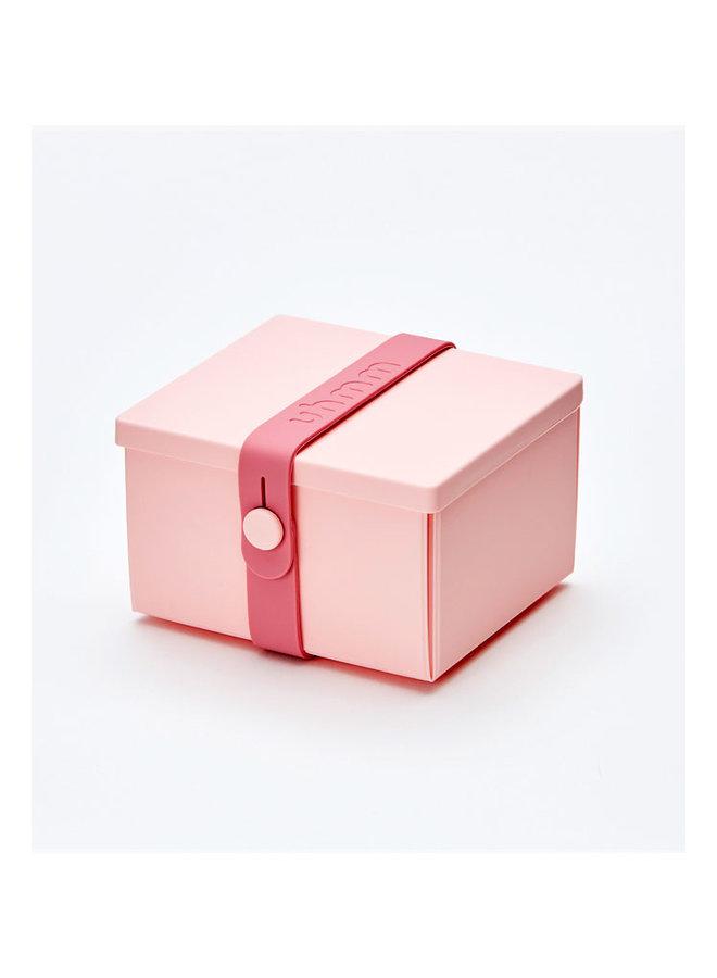rose vouwbare lunchbox die je ook als bord kunt gebruiken. Met rose strap.