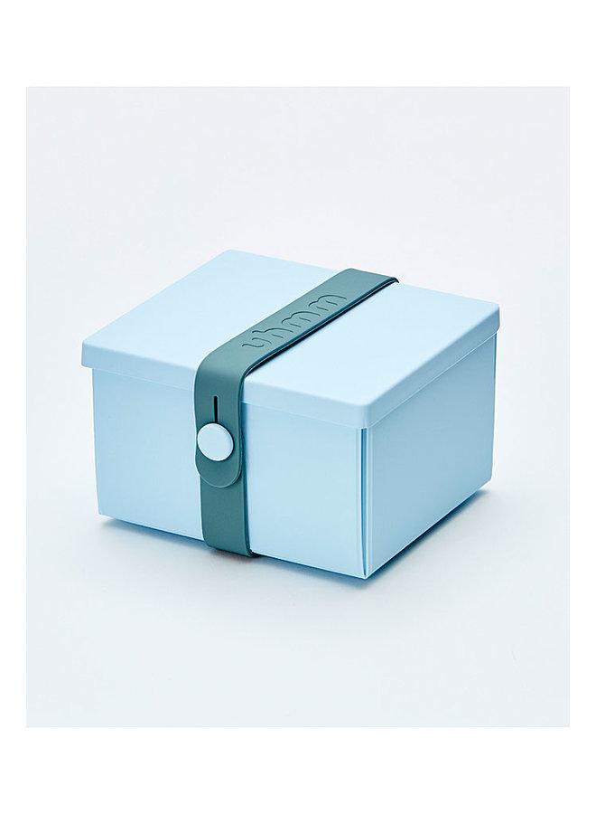 blauwe vouwbare lunchbox die je ook als bord kunt gebruiken. Met petrol strap.