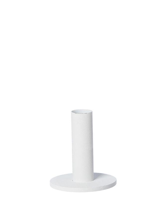 witte kandelaar van gepoedercoat staal, 9 cm hoog