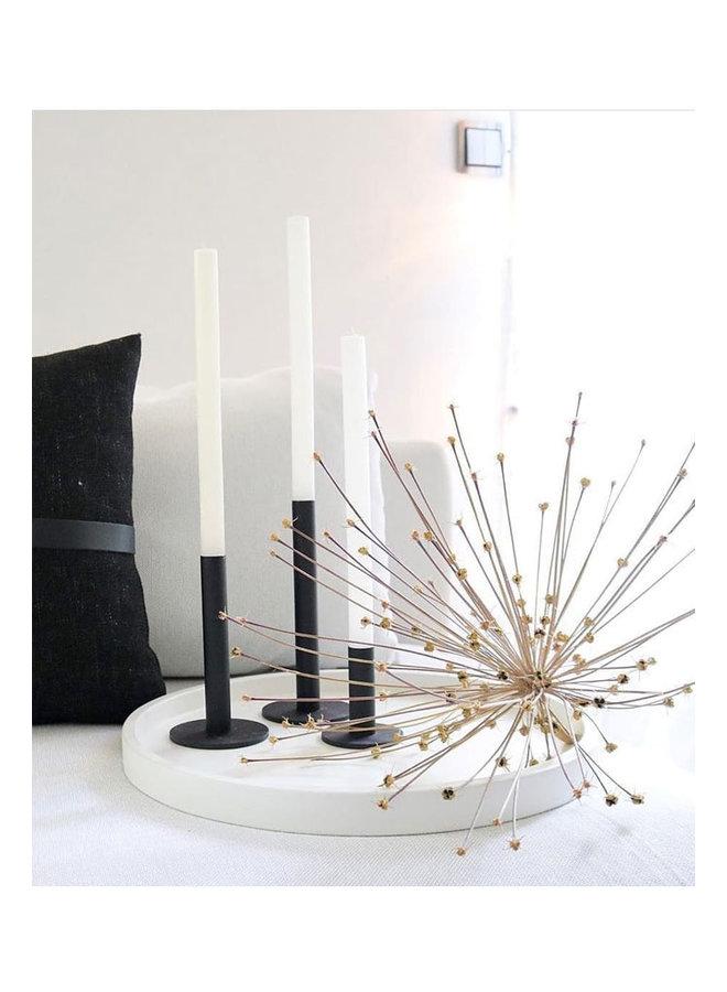 schwarzer kerzenhalter aus pulverbeschichtetem Stahl, 18 cm hoch
