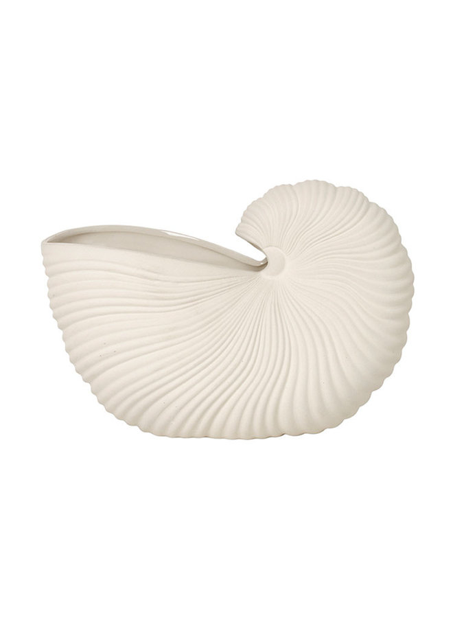 shell pot, off white pottery interior object. Can also be used as a vase.