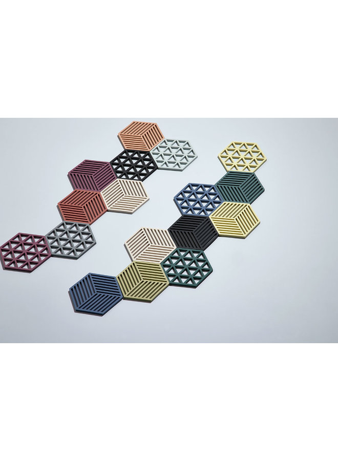 zeshoekige zwarte onderzetter Hexagon