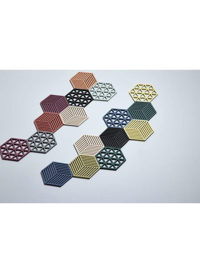 Zone Denmark zeshoekige zwarte onderzetter Hexagon, van siliconen