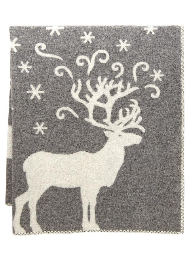 100% wool blanket/plaid grey/white Valkko