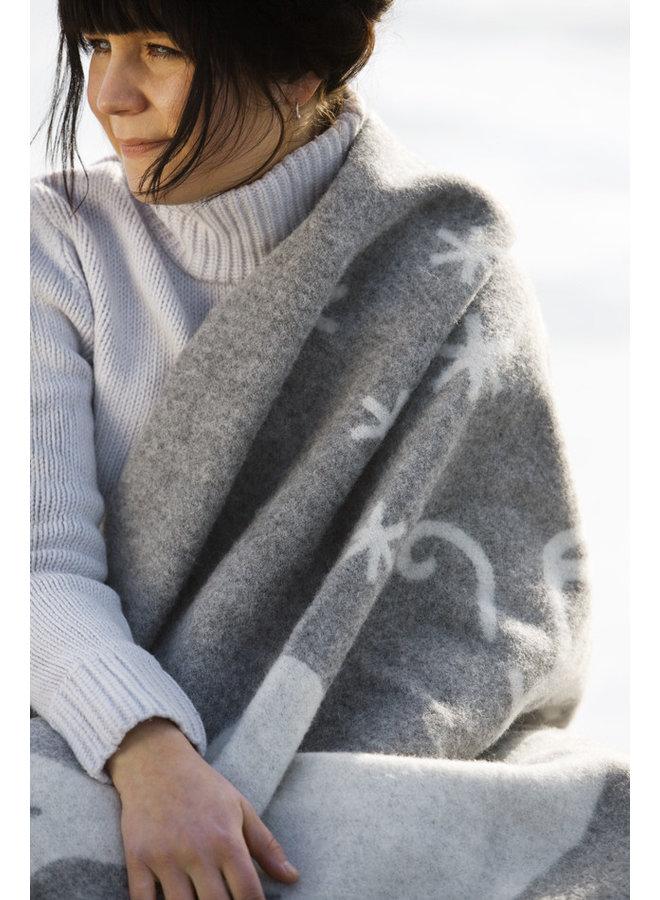 100% wollen deken/plaid grijs/wit Valkko