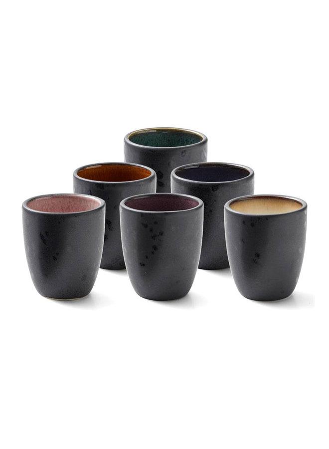 set van zes aardewerk espressokopjes in diverse kleuren