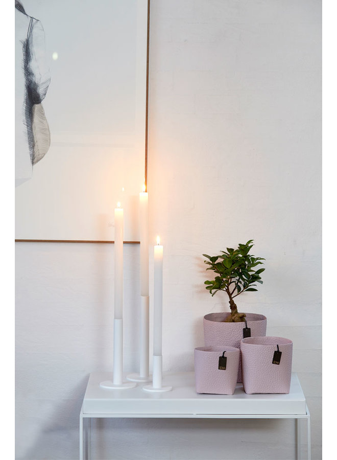 white candlestick made of powder-coated steel, 9 cm high