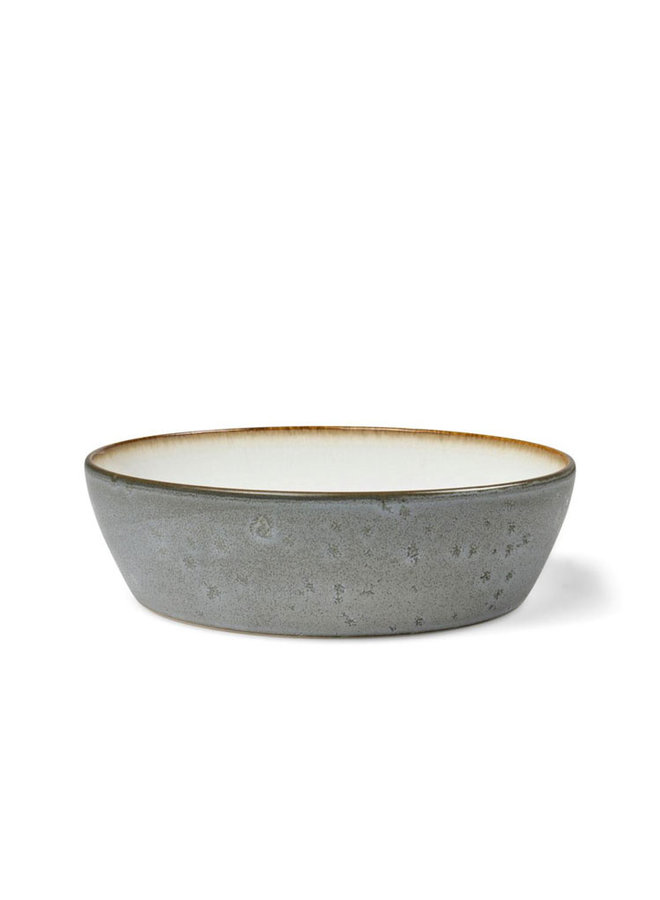 keramiek grijze soepkom met witte binnenkant