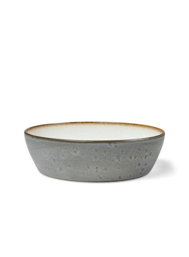 soepkom in grijs met witte binnenzijde
