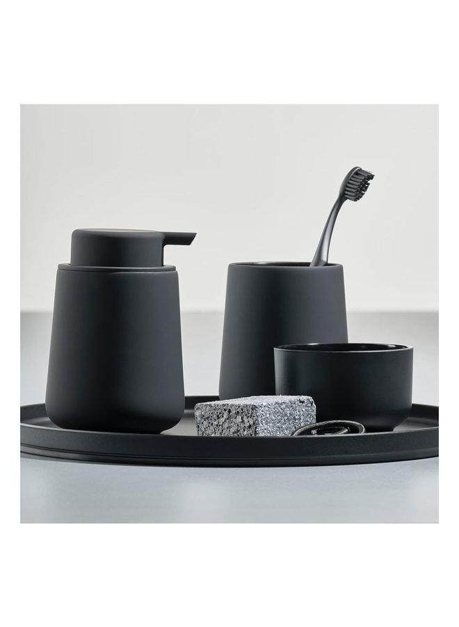 Zone Denmark black soap dispenser Nova One made of porcelain, finished with a soft touch.