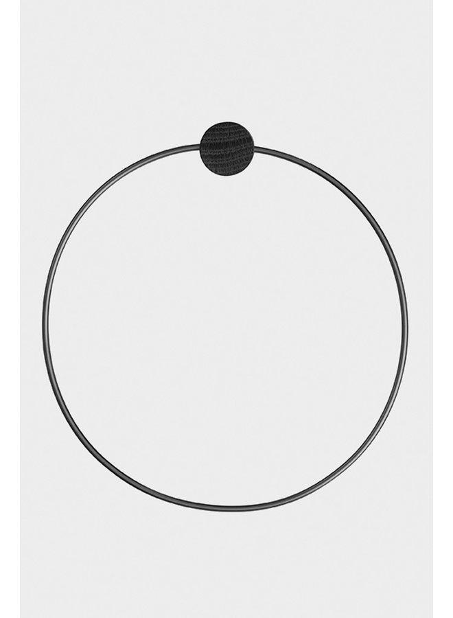 Ferm Living black metal towel ring, with black oak button