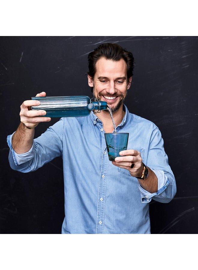 Bitz Glas Wasserflasche blauw, 1,2 Liter