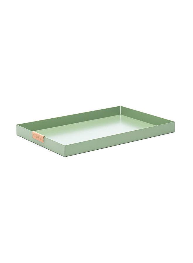 groen aluminium dienblad, afmeting 20 x 30 cm