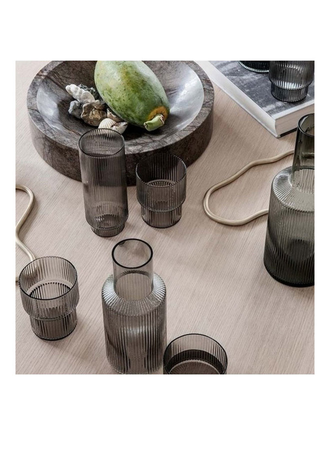 Ferm Living mouth-blown glass carafe Ripple of smoked glass, 0.9 liters