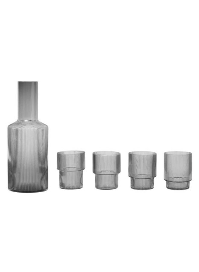 Ferm Living set of four mouth-blown glass Ripple in smoked glass, 20 cl