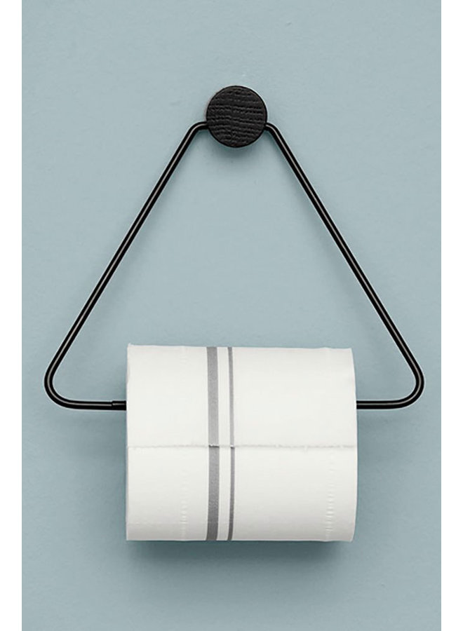 black metal toilet roll holder with wooden knob