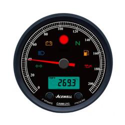 CA085 210 KM/H Teller Zwarte Behuizing en Zwarte Wijzerplaat
