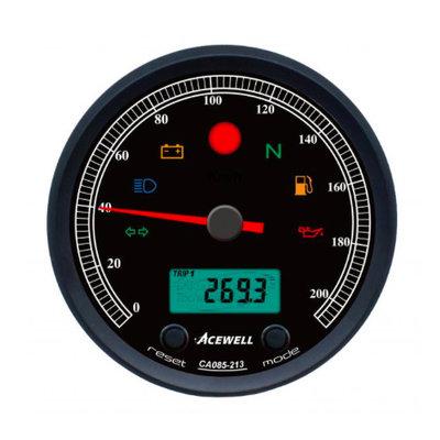 Acewell CA085 210 KM/H Speedo Schwarz / Schwarz