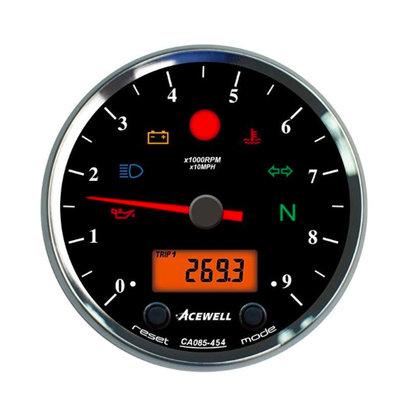 Acewell CA085 12.000RPM Speedo Schwarz / Schwarz