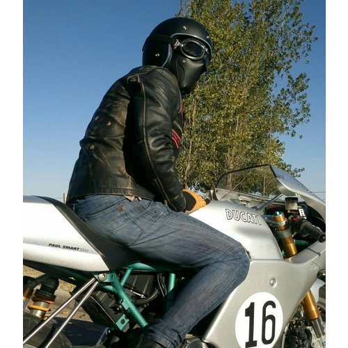 Motard Germany Cafe Racer Masker Leder - Black
