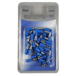 Connecteurs de câbles mâles ronds bleus / 2/5=>4 - 50 pièces