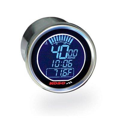 KOSO (max 18000 RPM) D55 DL-01R Toerenteller/Thermometer Zwart, Blauw