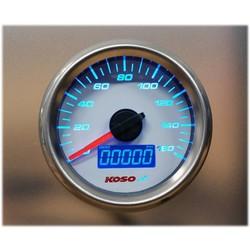 (max 160 kmh / mph) D48 GP Style Speedometer, ODO, Trip, White Dial