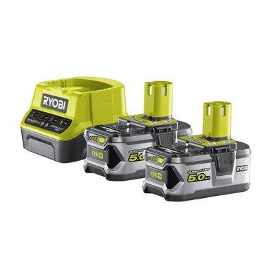 Ryobi ONE + 2 x 18V 5,0 Ah Lithium Batterie Set + Ladegerät RC18120-250