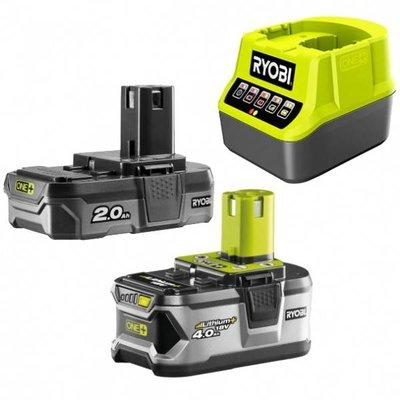 Ryobi ONE + 1x 2,0 Ah + 1x 4,0 Ah 18 V Lithium Batterie Pack + Ladegerät RC18120-242