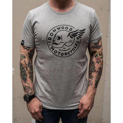 Ironwood Motorcycles Flying Skull Tee Grey - T-shirt