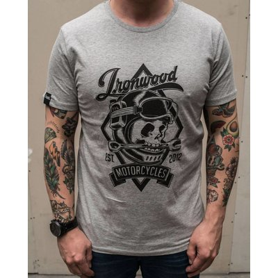 Ironwood Motorcycles Skull Tee Grey - T-shirt