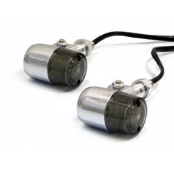"""Clignotants classiques chromés à LED style """"Barrel"""""""