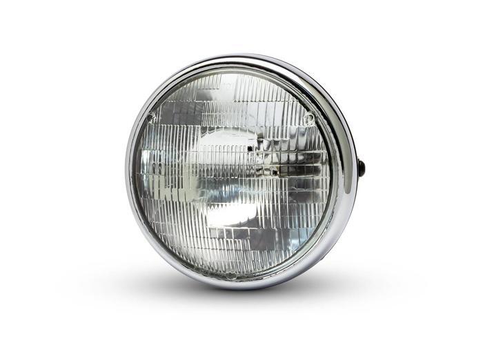 """7 """"Chrom/Schwarz Shorty Metallscheinwerfer - 12v / 55w Sealed Beam"""