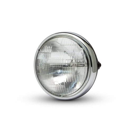 "7 ""Chrome/Zwart Shorty metalen koplamp - 12v / 55w sealed beam"