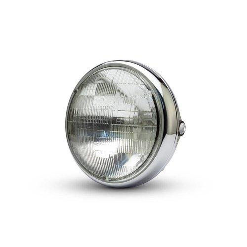 """7 """"Chrome Shorty metalen koplamp - 12v / 55w sealed beam"""