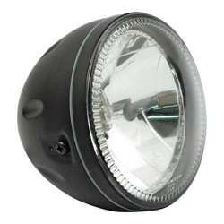 "5.75"" Halo Cafe Racer Headlight H4, Black, E-mark"