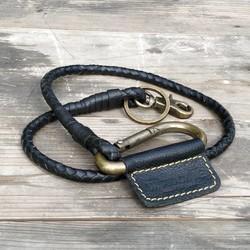 Gevlochten sleutelhanger - Zwart