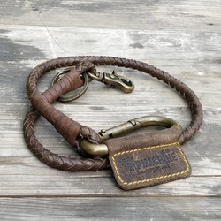 Porte-clés tressé - Brun tabac