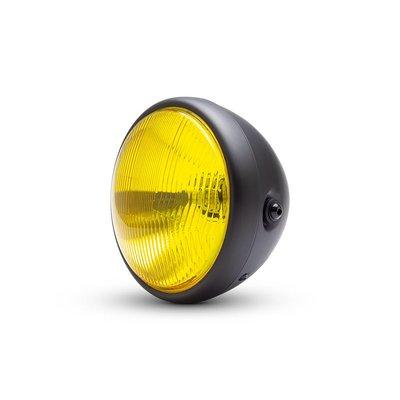 """7.7 """"phare classique noir mat - lentille jaune"""