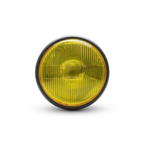 "7.7"" Classic Matte Black Headlight  - Yellow Lens"