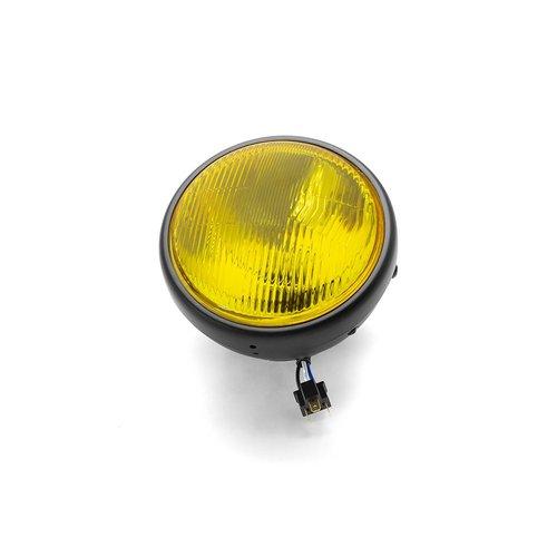 "7  ""Klassieke matzwarte koplamp - gele lens"