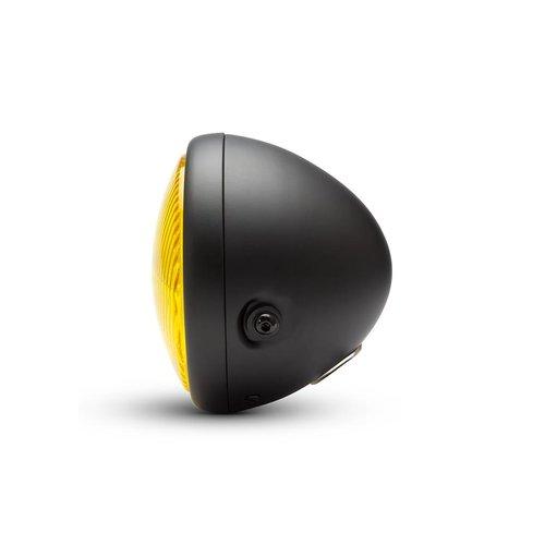 """Phare classique noir mat de 7,7"""" - lentille jaune"""