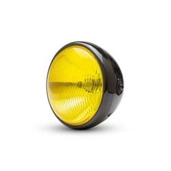 "7.7"" Classic Gloss Black Headlight  - Yellow Lens"