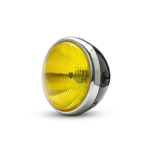 """7  """"Klassieke Chrome / Black koplamp - gele lens"""