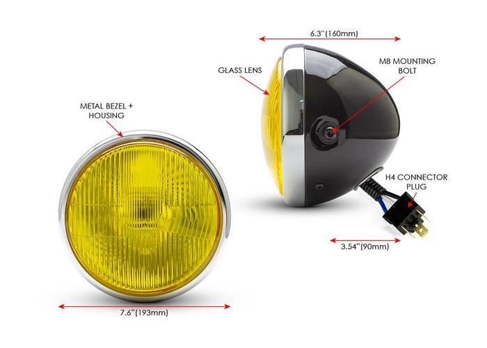 "7,7 ""Classic Chrome / Black-Scheinwerfer - gelbe Linse"