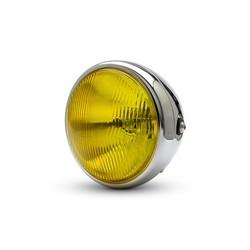 """7.7 """"Klassieke Chrome-koplamp - gele lens"""