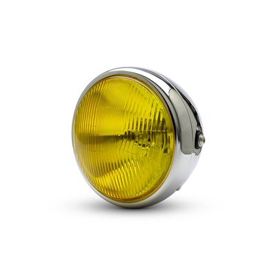 "7.7"" Classic Chrome Headlight  - Yellow Lens"