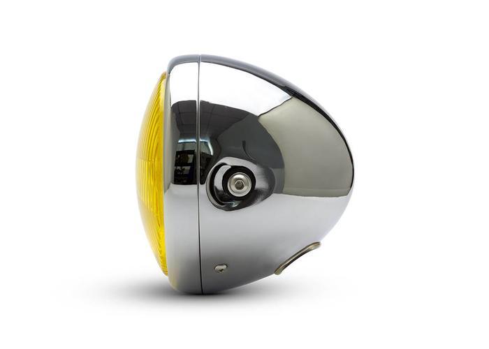 "7,7 ""Classic Chrome Headlight - Gelbe Linse"