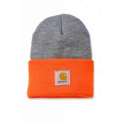 Bonnet Watch orange vif et gris